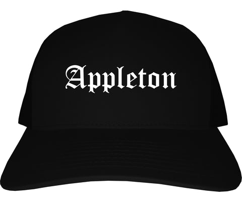 Appleton Wisconsin WI Old English Mens Trucker Hat Cap Black