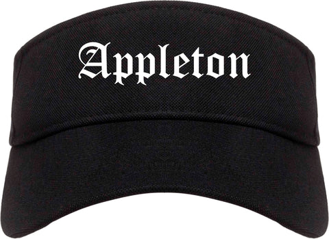 Appleton Wisconsin WI Old English Mens Visor Cap Hat Black
