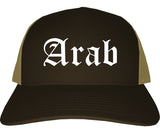 Arab Alabama AL Old English Mens Trucker Hat Cap Brown