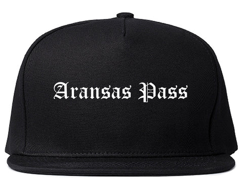 Aransas Pass Texas TX Old English Mens Snapback Hat Black