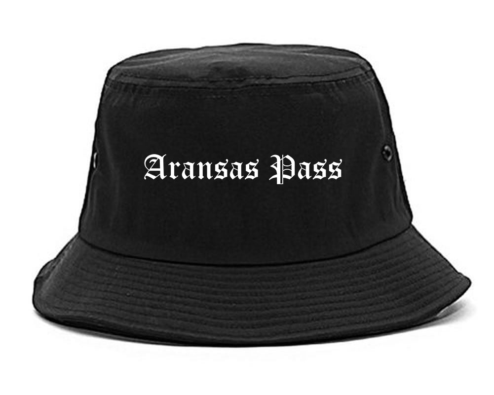 Aransas Pass Texas TX Old English Mens Bucket Hat Black