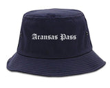 Aransas Pass Texas TX Old English Mens Bucket Hat Navy Blue