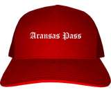 Aransas Pass Texas TX Old English Mens Trucker Hat Cap Red