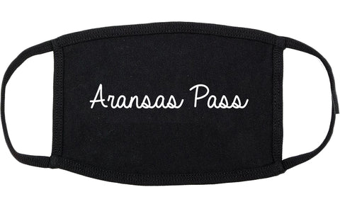 Aransas Pass Texas TX Script Cotton Face Mask Black