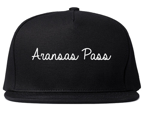 Aransas Pass Texas TX Script Mens Snapback Hat Black