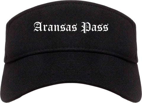 Aransas Pass Texas TX Old English Mens Visor Cap Hat Black