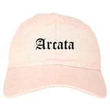 Arcata California CA Old English Mens Dad Hat Baseball Cap Pink