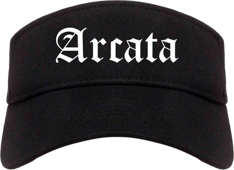 Arcata California CA Old English Mens Visor Cap Hat Black