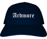 Ardmore Oklahoma OK Old English Mens Trucker Hat Cap Navy Blue