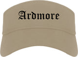 Ardmore Oklahoma OK Old English Mens Visor Cap Hat Khaki