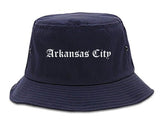 Arkansas City Kansas KS Old English Mens Bucket Hat Navy Blue