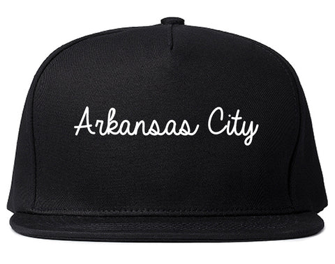 Arkansas City Kansas KS Script Mens Snapback Hat Black