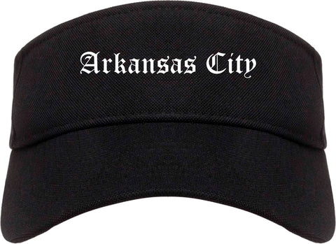 Arkansas City Kansas KS Old English Mens Visor Cap Hat Black