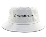 Arkansas City Kansas KS Old English Mens Bucket Hat White