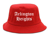 Arlington Heights Illinois IL Old English Mens Bucket Hat Red