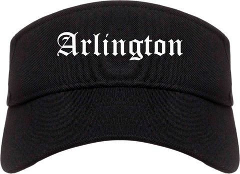 Arlington Washington WA Old English Mens Visor Cap Hat Black