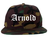 Arnold Missouri MO Old English Mens Snapback Hat Army Camo