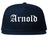 Arnold Missouri MO Old English Mens Snapback Hat Navy Blue