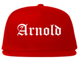 Arnold Missouri MO Old English Mens Snapback Hat Red