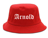 Arnold Missouri MO Old English Mens Bucket Hat Red