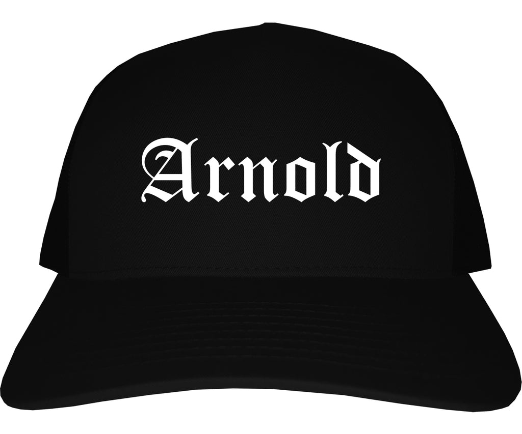 Arnold Missouri MO Old English Mens Trucker Hat Cap Black