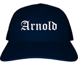 Arnold Missouri MO Old English Mens Trucker Hat Cap Navy Blue