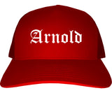 Arnold Missouri MO Old English Mens Trucker Hat Cap Red