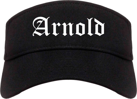 Arnold Missouri MO Old English Mens Visor Cap Hat Black
