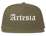 Artesia California CA Old English Mens Snapback Hat Grey