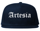 Artesia California CA Old English Mens Snapback Hat Navy Blue