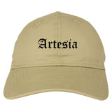 Artesia New Mexico NM Old English Mens Dad Hat Baseball Cap Tan