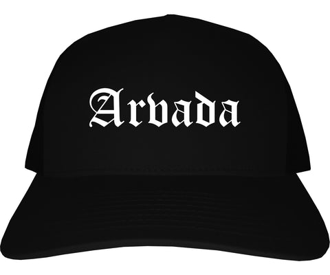 Arvada Colorado CO Old English Mens Trucker Hat Cap Black