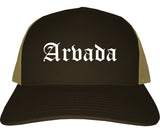 Arvada Colorado CO Old English Mens Trucker Hat Cap Brown