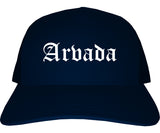 Arvada Colorado CO Old English Mens Trucker Hat Cap Navy Blue