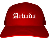Arvada Colorado CO Old English Mens Trucker Hat Cap Red