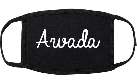 Arvada Colorado CO Script Cotton Face Mask Black