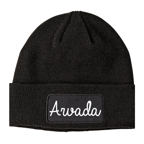 Arvada Colorado CO Script Mens Knit Beanie Hat Cap Black