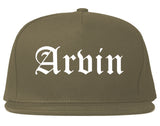 Arvin California CA Old English Mens Snapback Hat Grey