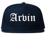 Arvin California CA Old English Mens Snapback Hat Navy Blue