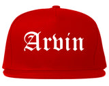 Arvin California CA Old English Mens Snapback Hat Red