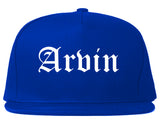 Arvin California CA Old English Mens Snapback Hat Royal Blue
