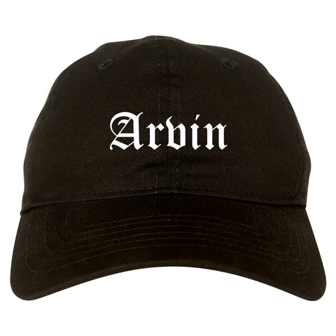 Arvin California CA Old English Mens Dad Hat Baseball Cap Black