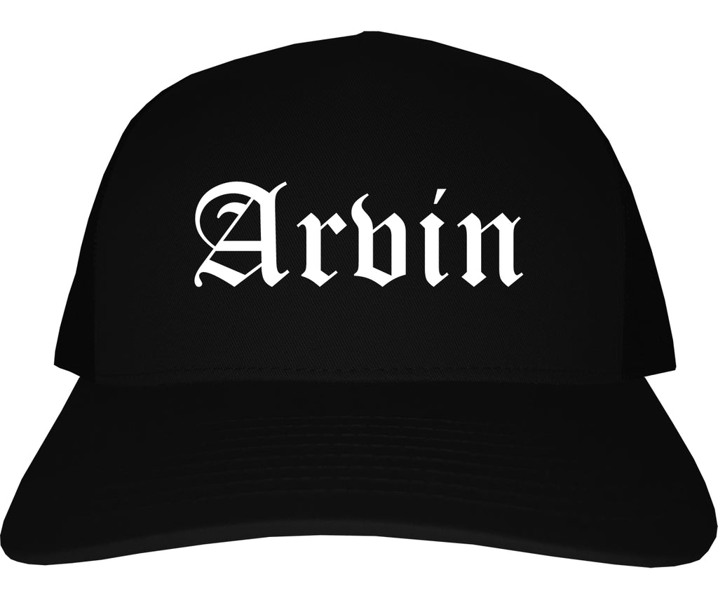 Arvin California CA Old English Mens Trucker Hat Cap Black