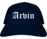 Arvin California CA Old English Mens Trucker Hat Cap Navy Blue