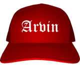 Arvin California CA Old English Mens Trucker Hat Cap Red
