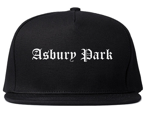 Asbury Park New Jersey NJ Old English Mens Snapback Hat Black