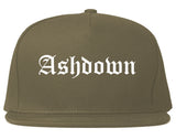 Ashdown Arkansas AR Old English Mens Snapback Hat Grey