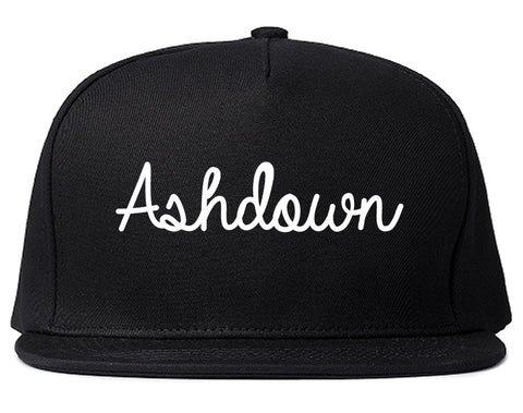 Ashdown Arkansas AR Script Mens Snapback Hat Black