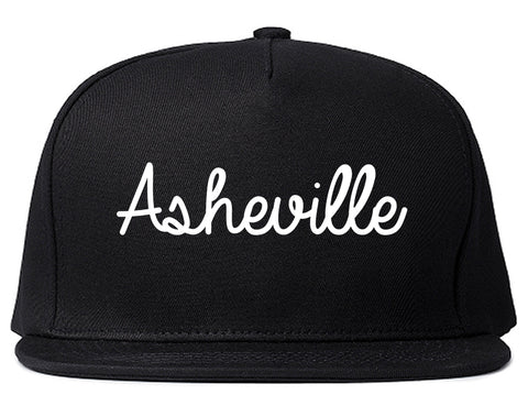 Asheville North Carolina NC Script Mens Snapback Hat Black