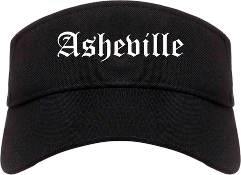 Asheville North Carolina NC Old English Mens Visor Cap Hat Black